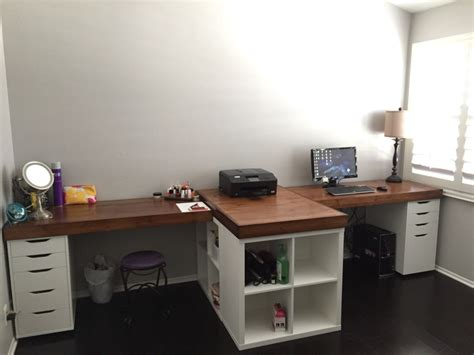 Let's take the ikea linnmon desk and make it way better so it doesn't sage. His and hers desk IKEA hack. IKEA base cabinets with ...
