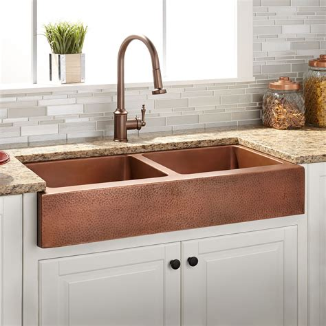 hammered copper farmhouse kitchen sinks 36 quot vernon bowl hammered copper retrofit farmhouse 6976