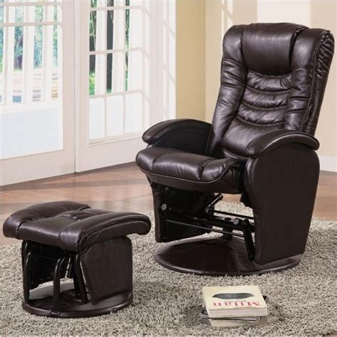 coaster faux leather glider recliner chair with ottoman in