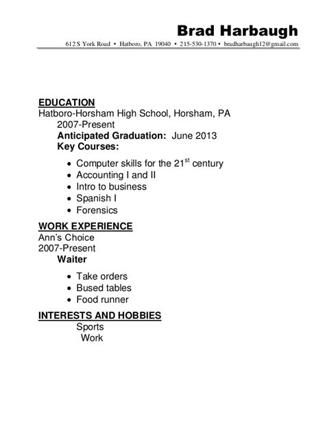resume education expected graduation resume sle hatboro 0411