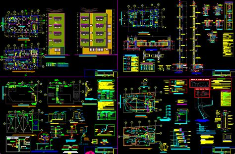 apartment house  storeys cafe  ground floor dwg full project  autocad designs cad