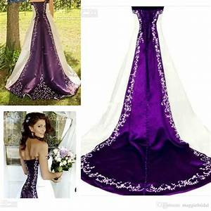 New strapless white and purple wedding dress cheap for Royal purple and white wedding dress