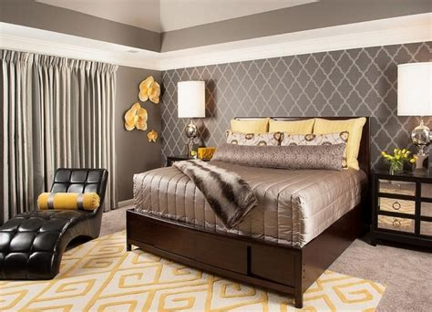 grey  yellow bedroom interior trendy color scheme
