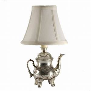 Small silver teapot accent table lamp for kitchen counter for Table lamp in kitchen