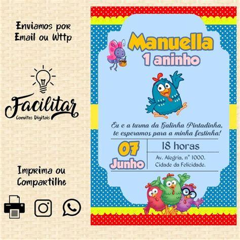 Convite Digital Galinha Pintadinha Menina no Elo7