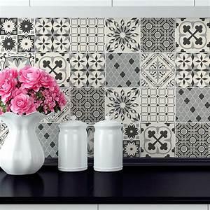 Stickers Carreaux De Ciment Cuisine : 24 stickers carreaux de ciment azulejos ilona cuisine ~ Melissatoandfro.com Idées de Décoration
