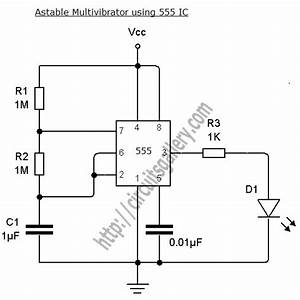 astable multivibrator using ne 555 timer ic circuit With simple time delay circuit using the ne555 timer ic in monostable