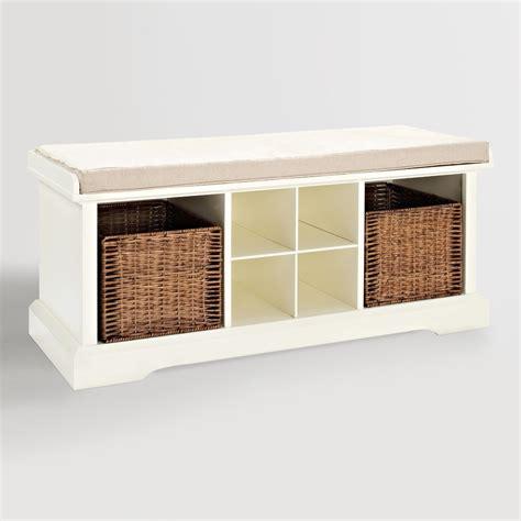 White Wood Storage Bench by White Wood Emlyn Entryway Storage Bench World Market