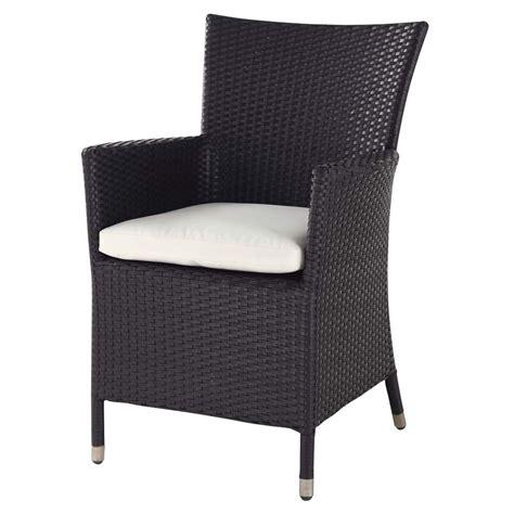 chaise de bureaux fauteuil de jardin en résine tressée noir miami maisons