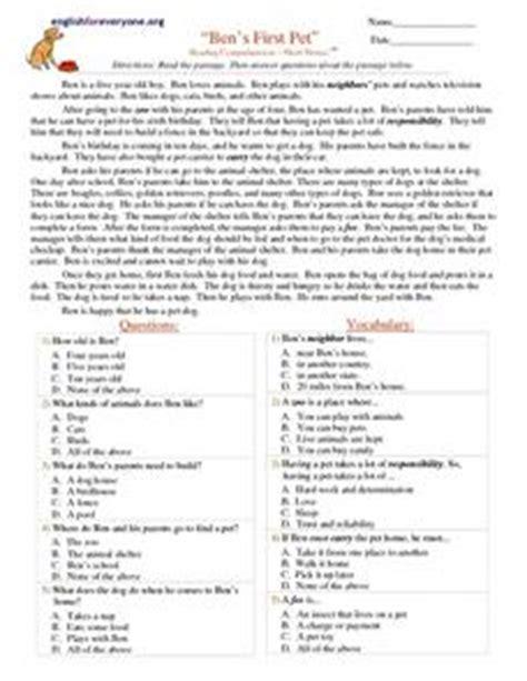 bens  pet reading comprehension short stories st