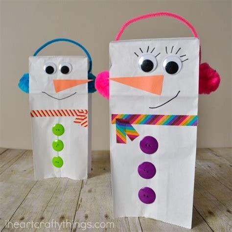 paper bag snowman craft puppet winter crafts  kids