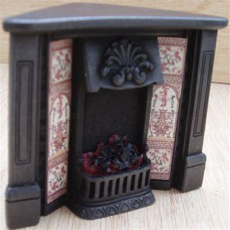 dolls house corner fireplace  glowing fire fireplace