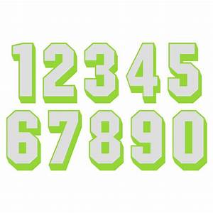 white reflective on lime green shadow letters numbers With white reflective letters
