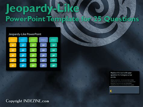 jeopardy  powerpoint template  questions indezine