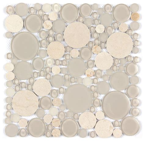 marble and glass circle mosaic modern tile