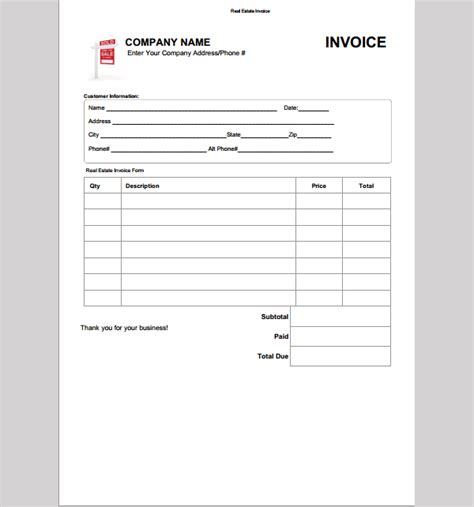 real estate invoice template apcc