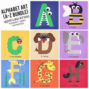a to z alphabet art template upper case letters bundle With alphabet craft letters