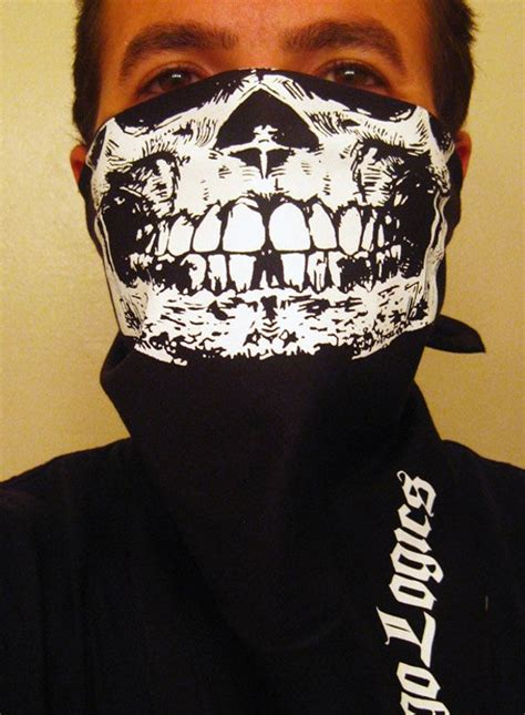 detailed white  skull black bandana mask biker airsoft