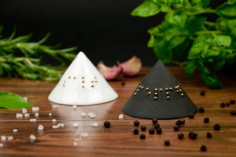 minimalist salt  pepper shakers  braille  kina ceramics notonthehighstreetcom