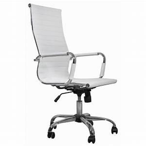 Chaise De Bureau Simili Cuir Blanc Dossier Haut Achat