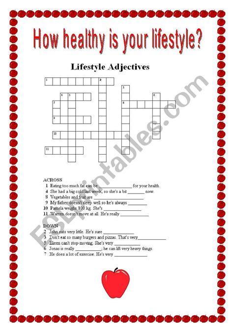 healthy lifestyle crosswords esl worksheet by mamidenacho