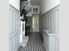 White hallway with panelling Hallway ideas Hallway