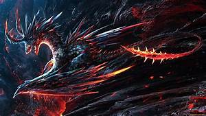 Wallpaper volcano lava dragon