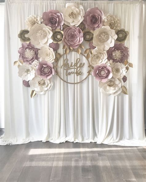 mauvedusty rose paper flower backdrop engagement baby
