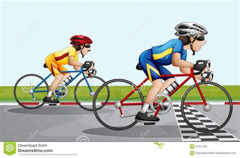 Two Bikers Racing Stock Vector. Illustration Of Cartoons