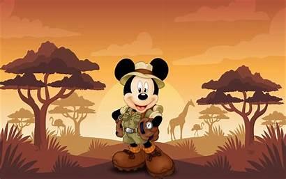 Mickey Safari Mouse Sunset Cartoon Painel Minnie