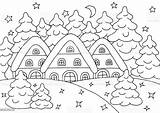 Coloring Forest Winter Houses Snow Adults Children Vector sketch template