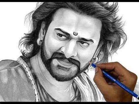 drawing bahubali prabhas bahubali  realistic sketch timelapse youtube