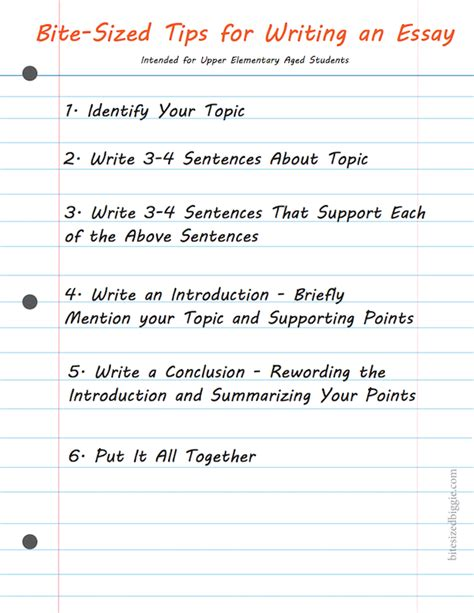 Homeschool Hints Simple Steps To Writing A Basic Essay  Bite Sized Biggie
