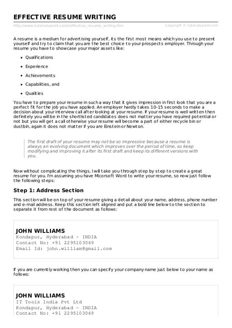 Writing An Effective Resume by How To Write An Effective Resume Nyustraus Org Exaple
