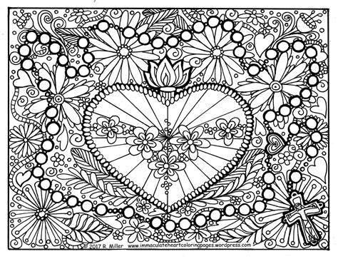 immaculate heart  mary    holy rosary coloring