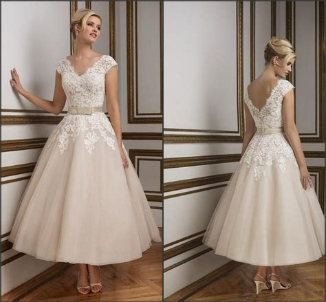 2016 Champagne Ankle Length Wedding Dresses Elegant V Neck