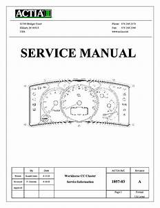 Actia Instrument Cluster 2007 Service Manual Download