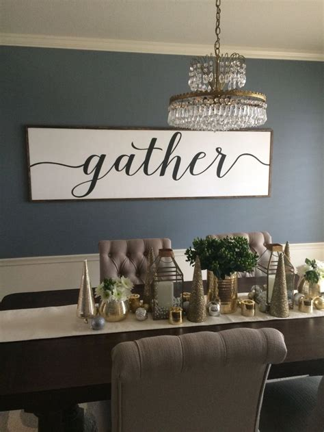 Our dining room walls are the one space in our home that gives us creative license to do something totally unexpected. Sign With Quote: Gather Distressed Wood Sign in black and (With images) | Dining room walls ...