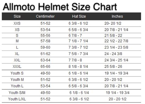 Youth Motorcycle Helmet Sizing Chart Motorcycle Parts