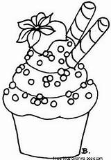 Coloring Cupcake Pages Printable Total Views sketch template