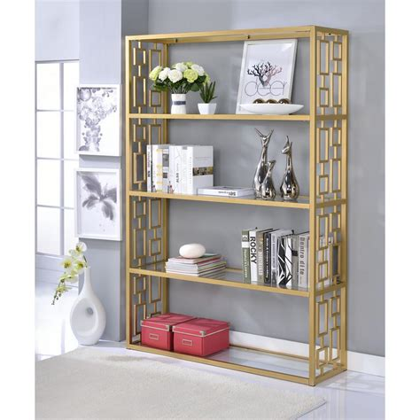 Furniture Etagere by Acme Furniture Blanrio Etagere Clear Glass And Gold