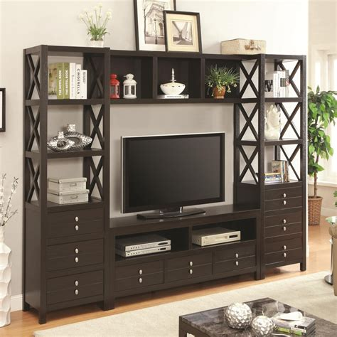 bookshelf tv stand media tower for tv stands with 3 drawers and 3 shelves