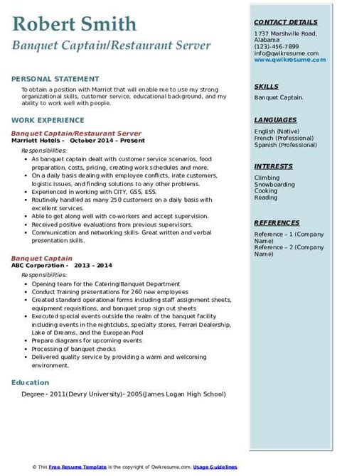 Banquet Server Resume by Banquet Captain Resume Sles Qwikresume