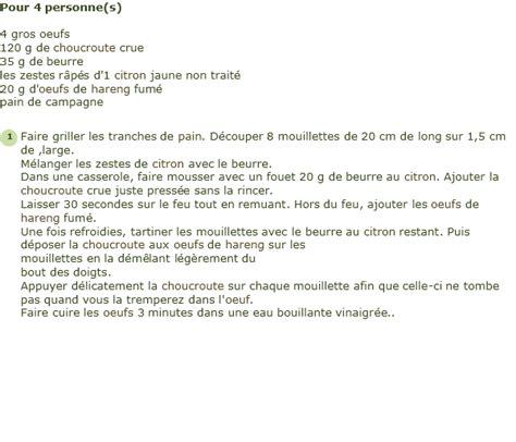cuisiner choucroute crue recette oeufs et mouillette de choucroute crue facile et