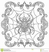 Coloring Spider Zentangle Chandelier Pages Halloween Abstract Adult Mandala Getcolorings Printable Illustration Shapes Dreamstime sketch template