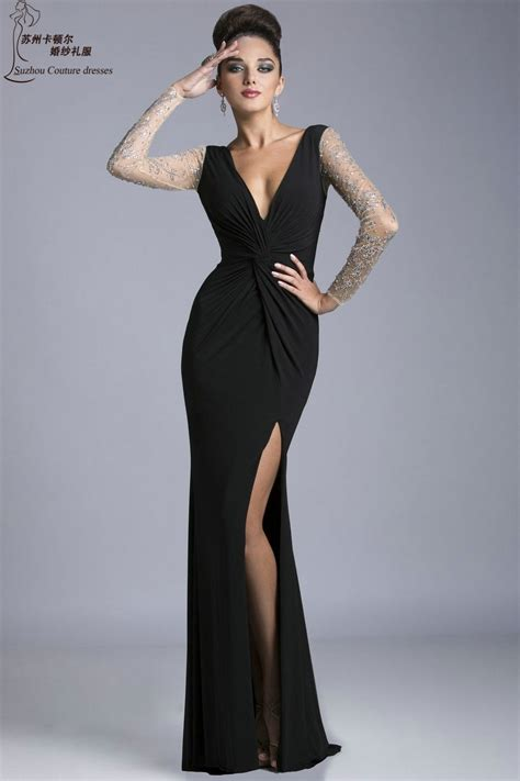 mermaid long sleeve black prom dresses pm sexy  neck