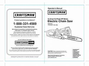 Craftsman 4 0hp Electric Chainsaw 18 Owners Manual