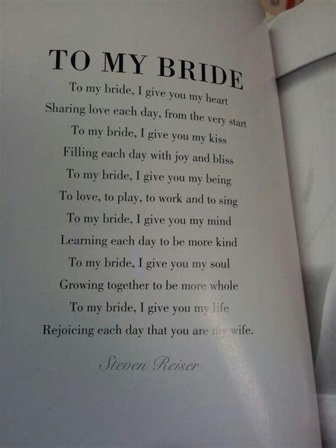 bride poem      grooms vows