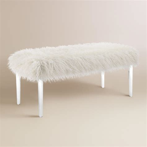 faux fur bench faux flokati upholstered bench world market