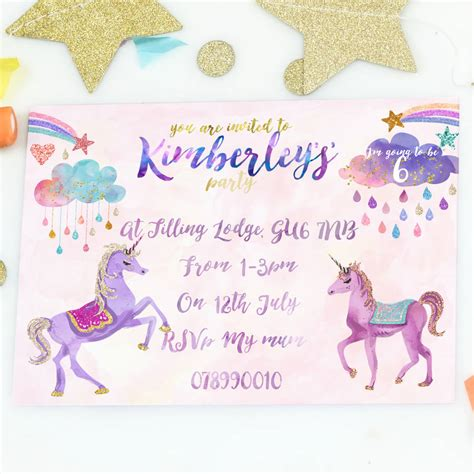 a birthday invitation unicorn girl 39 s birthday party invites by august grace